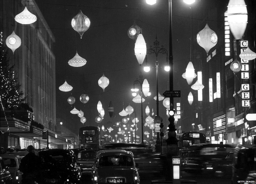 England s christmas street decorations from the past bbc
