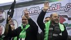 Hamas leaders Ismail Haniyeh (left) and Mussa Abu Marzuq in Gaza (12/12/14)