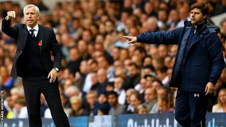 Rival managers Alan Pardew and Mauricio Pochettino