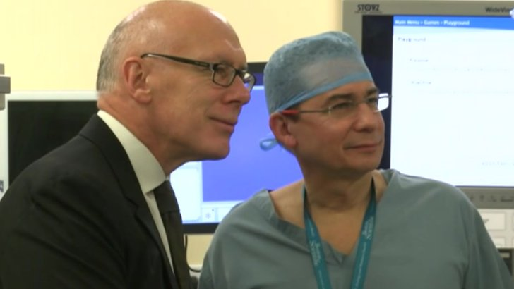 Entrepreneur Mel Morris meets staff at the Royal Derby Hospital