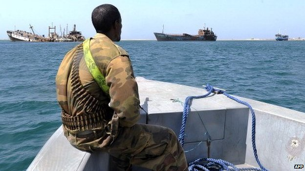 A Somali coastguard patrols off the coast of Somalia's breakaway Republic of Somaliland on 30 March 2011