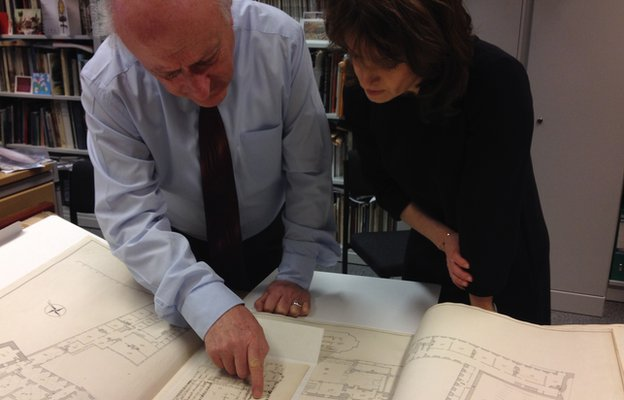 Peter Barber and Rebecca Jones looking at the George III drawing