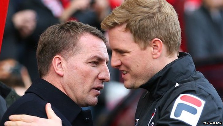 Liverpool manager Brendan Rodgers shakes hands with Bournemouth boss Eddie Howe during last season's FA Cup tie between the two clubs