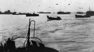 Landing craft sailing to Normandy during D-Day landings 6 June 1944