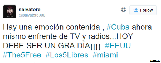 """Translation: """"There are a lot of emotions to hold in. Right now all Cuba is on front of the TV and the radio TODAY SHOULD BE A GREAT DAY!!!!"""""""
