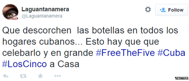 """Translation: """"Pop open bottles of champagne in every Cuban home. This is something we have to celebrate #FreetheFive #Cuba #LosCinco (The Five)"""""""