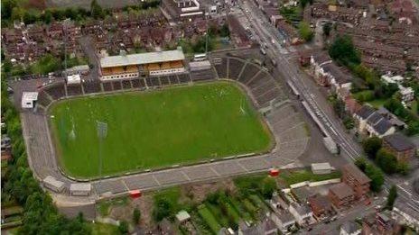 Aerial view of Casement Park GAA stadium