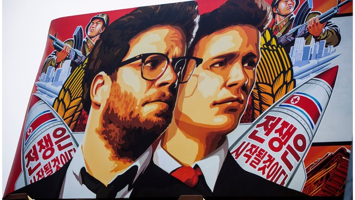 "A banner for ""The Interview""is posted outside Arclight Cinemas"