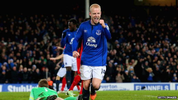 Steven Naismith scoring for Everton