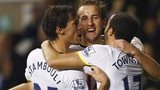 Harry Kane celebrates his goal with Tottenham team-mates Andros Townsend and Benjamin Stambouli