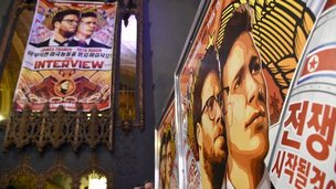 Posters for The Interview at The Theatre at Ace Hotel, Los Angeles. 17 Dec 2014