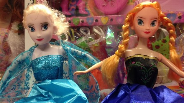 Elsa and Anna dolls from Frozen