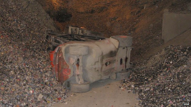 The overturned forklift truck