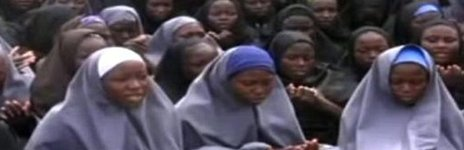 A screen grab taken on 12 May 2014 from a Boko Haram video showing the girls kidnapped from Chibok, Nigeria