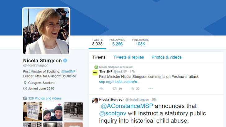 Nicola Sturgeon's twitter feed