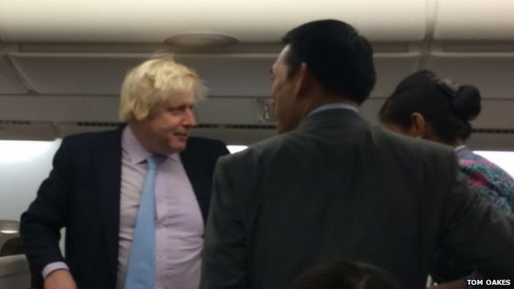 Boris Johnson on a plane