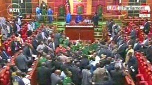 A screen grab of scuffles in parliament