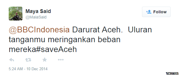 "Translation: ""Aceh in emergency. Need your help to help them."""