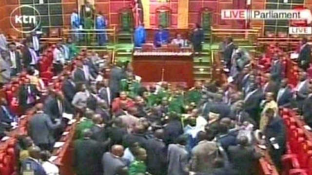 Scuffles during Kenyan parliamentary session