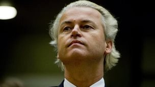 Dutch politician Geert Wilders looks on during the reading of his verdict at an Amsterdam court on June 23, 2011