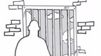Illustration of man in prison