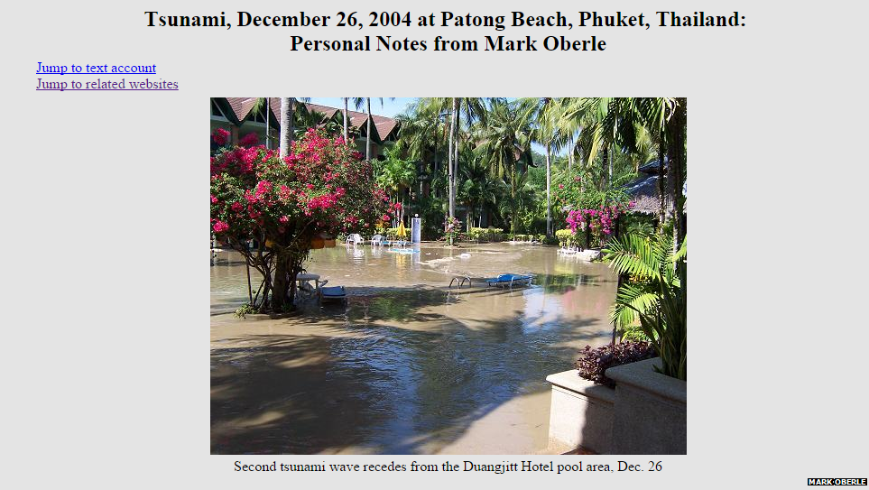 A screen grab of Mark Oberle's post about the tsunami.