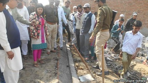 B Chandrakala inspecting works