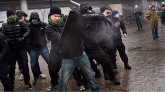 Right-wing extremists attack an anti-Nazi demonstration in the Stockholm suburb Karrtorp, Sweden, on December 15, 2013