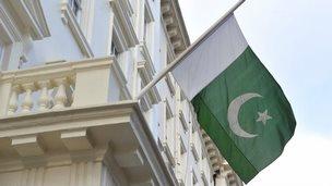 Pakistan flag at half mast