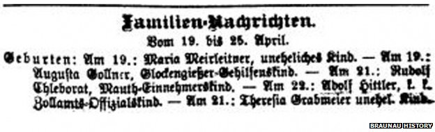 Birth announcement for Adolf Hitler in a local newspaper