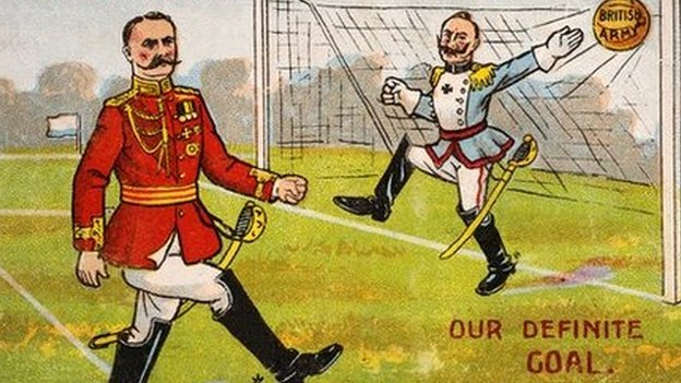 illustration of a British soldier scoring a goal