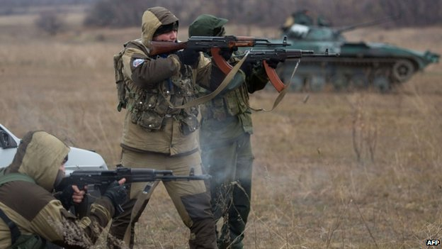 Pro-Russian militants training east of Donetsk (file pic)