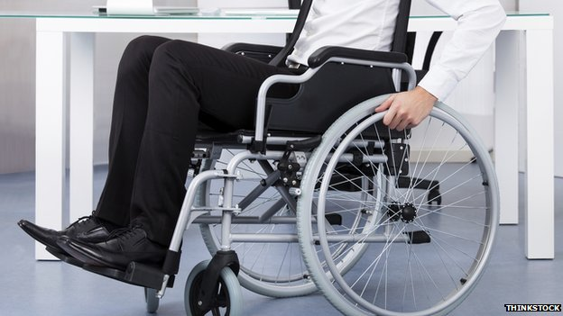 Worker in a wheelchair
