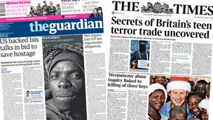 Composite image of Guardian and Times front pages