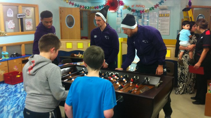 Derby County players at the Royal Derby Hospital
