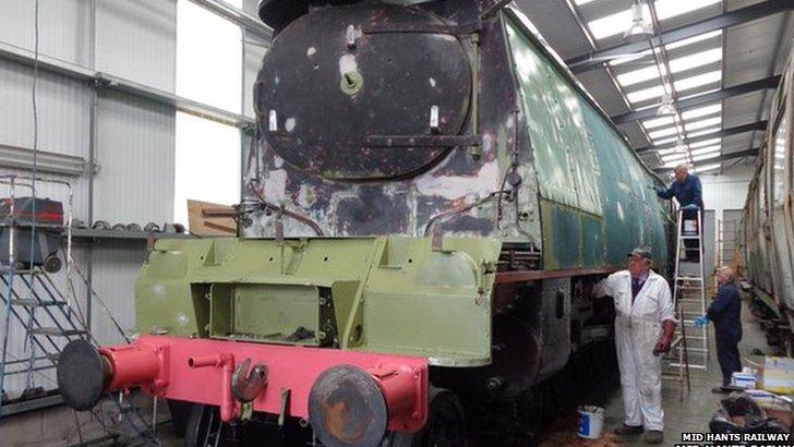 Churchill locomotive being restored at Mid Hants Railway