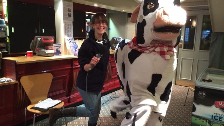 Lilley Mitchell with pantomime cow