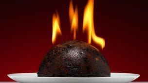 Flaming Christmas pudding