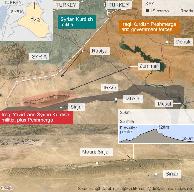 Map showing Iraqi Kurdish Peshmerga offensive on Mount Sinjar (19 December 2014)