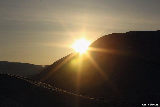 Winter sunset at Glen Shee