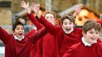 Choristers of Winchester Cathedral Choir skating