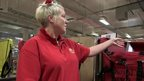 Postal worker with Santa hat