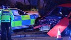 Police car crashed on Manor Way, Cardiff