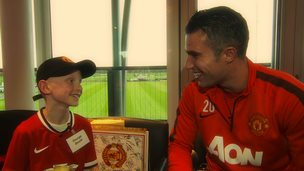 Robin van Persie meets children at a Manchester United foundation 'Dream Day'