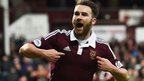 James Keatings celebrates after scoring for Hearts against Alloa Athletic