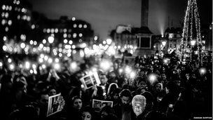 Trafalgar Square vigil after the Peshawar attack; photo by Hassan Suffyan