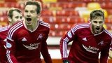 Peter Pawlett (left) celebrates after putting Aberdeen ahead against Kilmarnock.