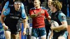 Jonny Gray celebrates after scoring a try for Glasgow Warriors against Munster