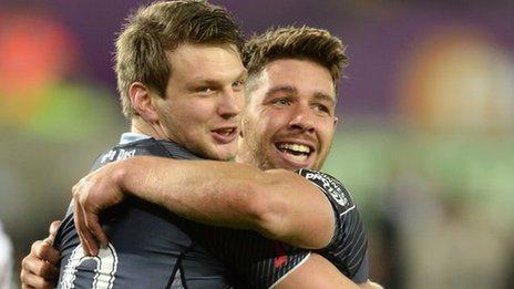 Dan Biggar and Rhys Webb celebrate