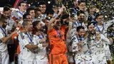 Real Madrid players celebrate winning the Club World Cup against San Lorenzo